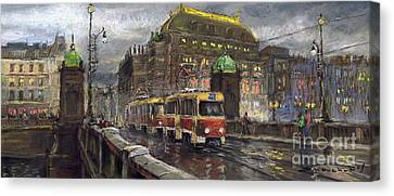 Prague Tram Legii Bridge National Theatre Canvas Print