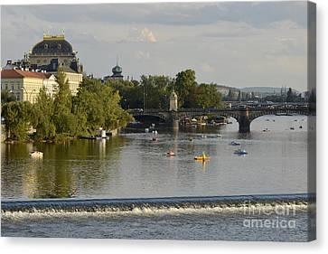 Prague-vltava River Canvas Print by Leo Symon