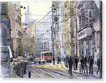 Prague Vodickova Str Canvas Print by Yuriy  Shevchuk