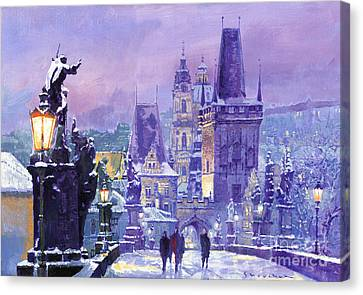 Prague Winter Charles Bridge Canvas Print by Yuriy Shevchuk