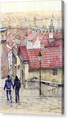 Prague Zamecky Schody Castle Steps Canvas Print by Yuriy  Shevchuk