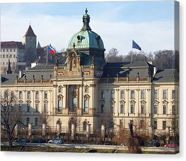 Prague's Vltava River Waterfront Canvas Print by Miroslav Nemecek