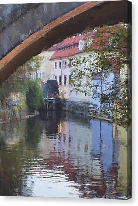 Praha Canal Dusk Canvas Print by Shawn Wallwork