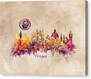 Praha Skyline Art Canvas Print
