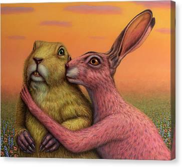 Prairie Dog And Rabbit Couple Canvas Print by James W Johnson