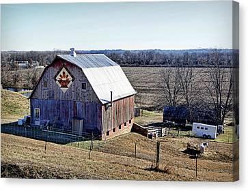Traditional Quilt Canvas Print - Prairie Flower Quilt Barn by Cricket Hackmann