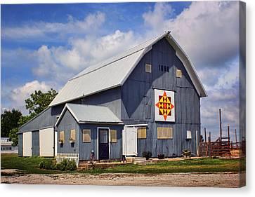 Prairie Sunrise - Quilt Barn - Nebraska Canvas Print by Nikolyn McDonald