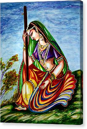 Krishna - Prayer Canvas Print by Harsh Malik