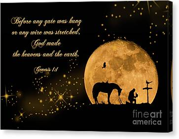 Prayer Of A Cowboy Canvas Print by Bonnie Barry