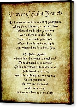 Christian Poetry Canvas Print - Prayer Of St Francis - Antique Parchment by Ginny Gaura