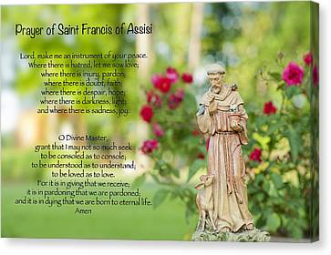 Prayer Of St. Francis Of Assisi Canvas Print by Bonnie Barry