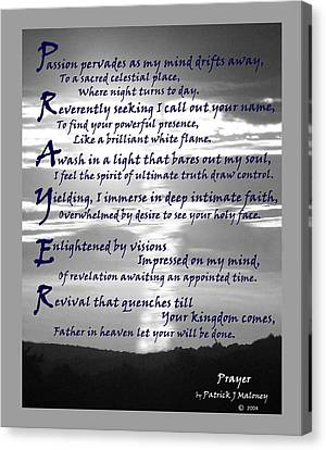 Christian Poetry Canvas Print - Prayer by Patrick J Maloney