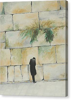 Praying At The Western Wall Canvas Print