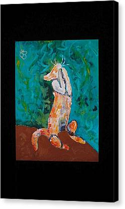 Canvas Print featuring the painting Praying Cat by AJ Brown