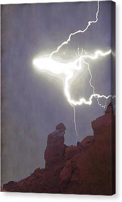 Praying Monk Lightning Burst Of Energy From Above Canvas Print