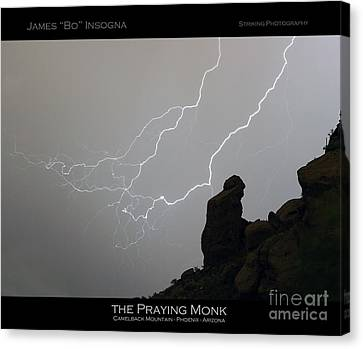 Praying Monk Lightning Striking Poster Print Canvas Print