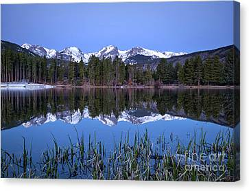 Pre Dawn Image Of The Continental Divide And A Sprague Lake Refl Canvas Print by Ronda Kimbrow