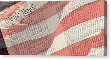 Preamble Of The Constitution Of The United States With Us Flag Canvas Print