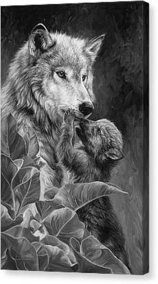 Precious Moment - Black And White Canvas Print by Lucie Bilodeau