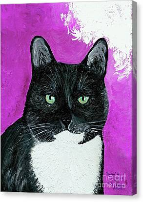 Canvas Print featuring the painting Precious The Kitty by Ania M Milo