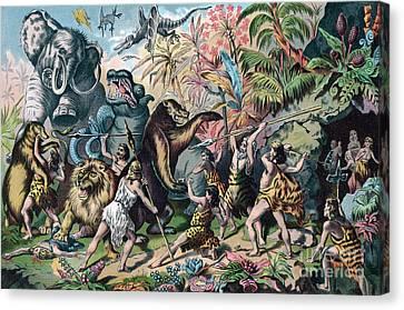 Prehistoric Man Battling Ferocious Animals Canvas Print by American School