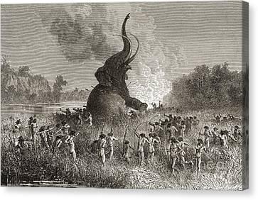 Prehistoric Man Hunting A Mammoth  Canvas Print