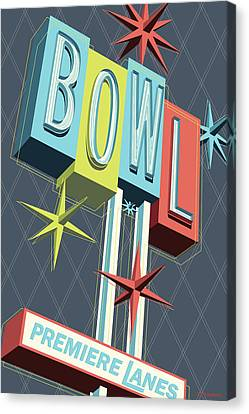 Premiere Lanes Bowling Pop Art Canvas Print by Jim Zahniser