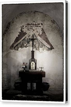 Crucifix Art Canvas Print - Preparation - Mission Concepcion Sacristry by Stephen Stookey