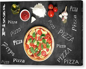 Prepared Pizza And Its Ingredients  Canvas Print by Vadim Goodwill