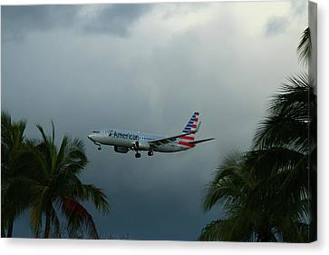 Preparing For Landing On Miami Airport Canvas Print by Christiane Schulze Art And Photography