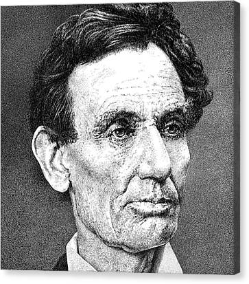 Old Cabins Canvas Print - President Abraham Lincoln by William Beauchamp