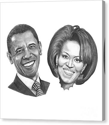 President And First Lady Obama Canvas Print by Murphy Elliott