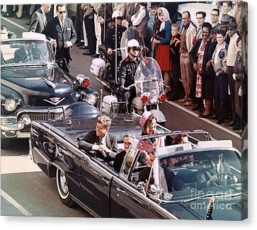 President And Mrs Kennedy In Dallas, Texas. Canvas Print by The Titanic Project