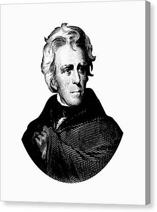 President Andrew Jackson Graphic Black And White Canvas Print