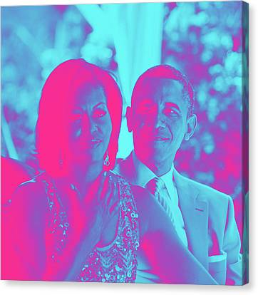 President Barack Obama And The First Lady Michelle Obama Canvas Print by Asar Studios