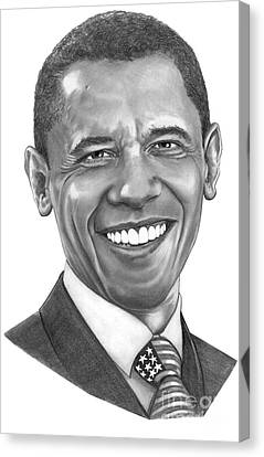 President Barack Obama By Murphy Art. Elliott Canvas Print by Murphy Elliott