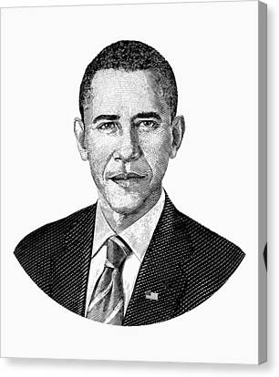 President Barack Obama Graphic Black And White Canvas Print by War Is Hell Store