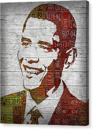 President Barack Obama Portrait United States License Plates Canvas Print