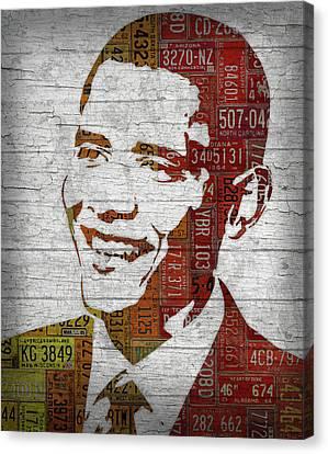 Barack Obama Portraits Canvas Print - President Barack Obama Portrait United States License Plates by Design Turnpike