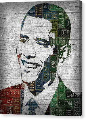 President Barack Obama Portrait United States License Plates Edition Two Canvas Print