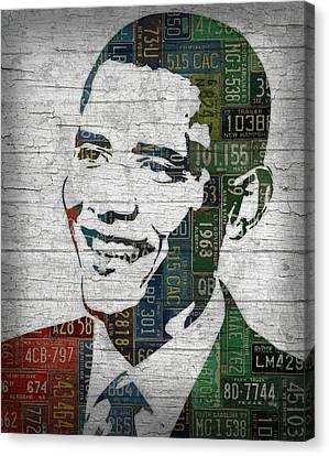 Barack Obama Portraits Canvas Print - President Barack Obama Portrait United States License Plates Edition Two by Design Turnpike