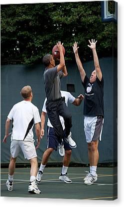 President Barack Obama Takes A Shot Canvas Print by Everett