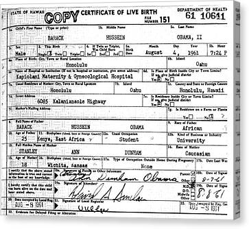 Canvas Print featuring the photograph President Barack Obama's Official Birth Certificate by Merton Allen