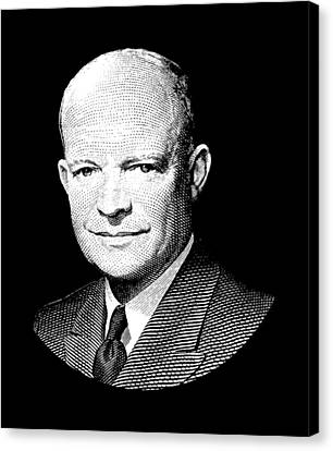 President Dwight Eisenhower Graphic - Black And White Canvas Print