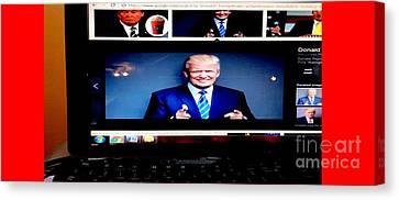 President Elect Donald J. Trump Two Guns Blazing Canvas Print by Richard W Linford