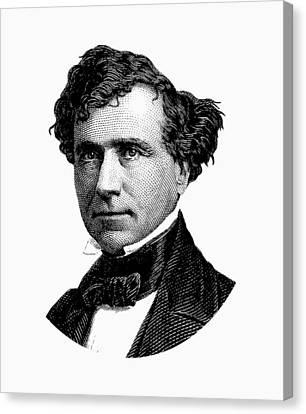 President Franklin Pierce Graphic - Black And White Canvas Print