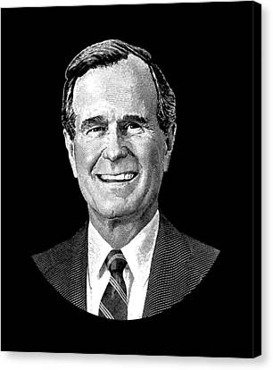 President George H. W. Bush Graphic Canvas Print by War Is Hell Store