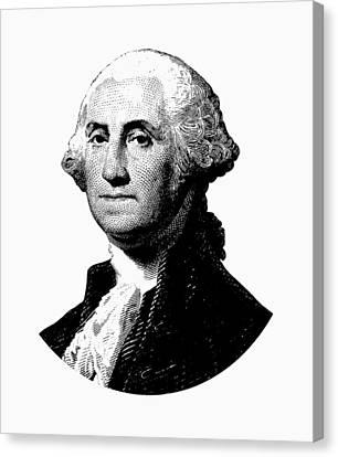 President George Washington Graphic - Black And White Canvas Print
