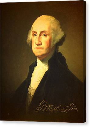 President George Washington Portrait And Signature Canvas Print by Design Turnpike