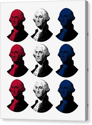 President George Washington - Red, White, And Blue  Canvas Print by War Is Hell Store